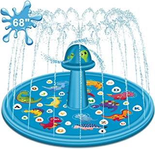 """Tobeape® Sprinkler Mat for Kids, 68"""" Outdoor Water Pad Toys for Toddlers Boys Girls Children"""