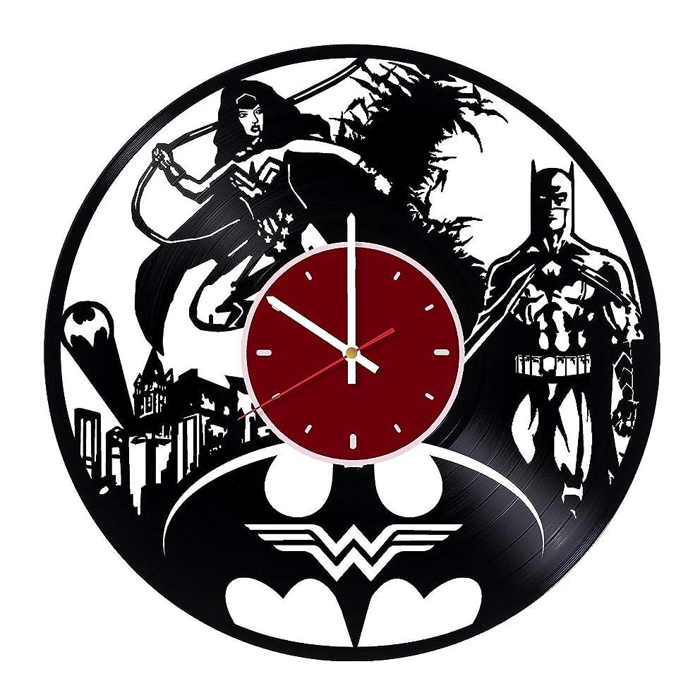 Wonder Woman and Batman Vinyl Wall Clock DC Comics Living Room Home Decor