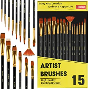 HIBOO Art Paint Brush Set-15 Different Sizes of Professionals Paint Brushes Wood Handles with Oil-Sealing Technique for Watercolor Acrylic Oil , Face and Nails Painting