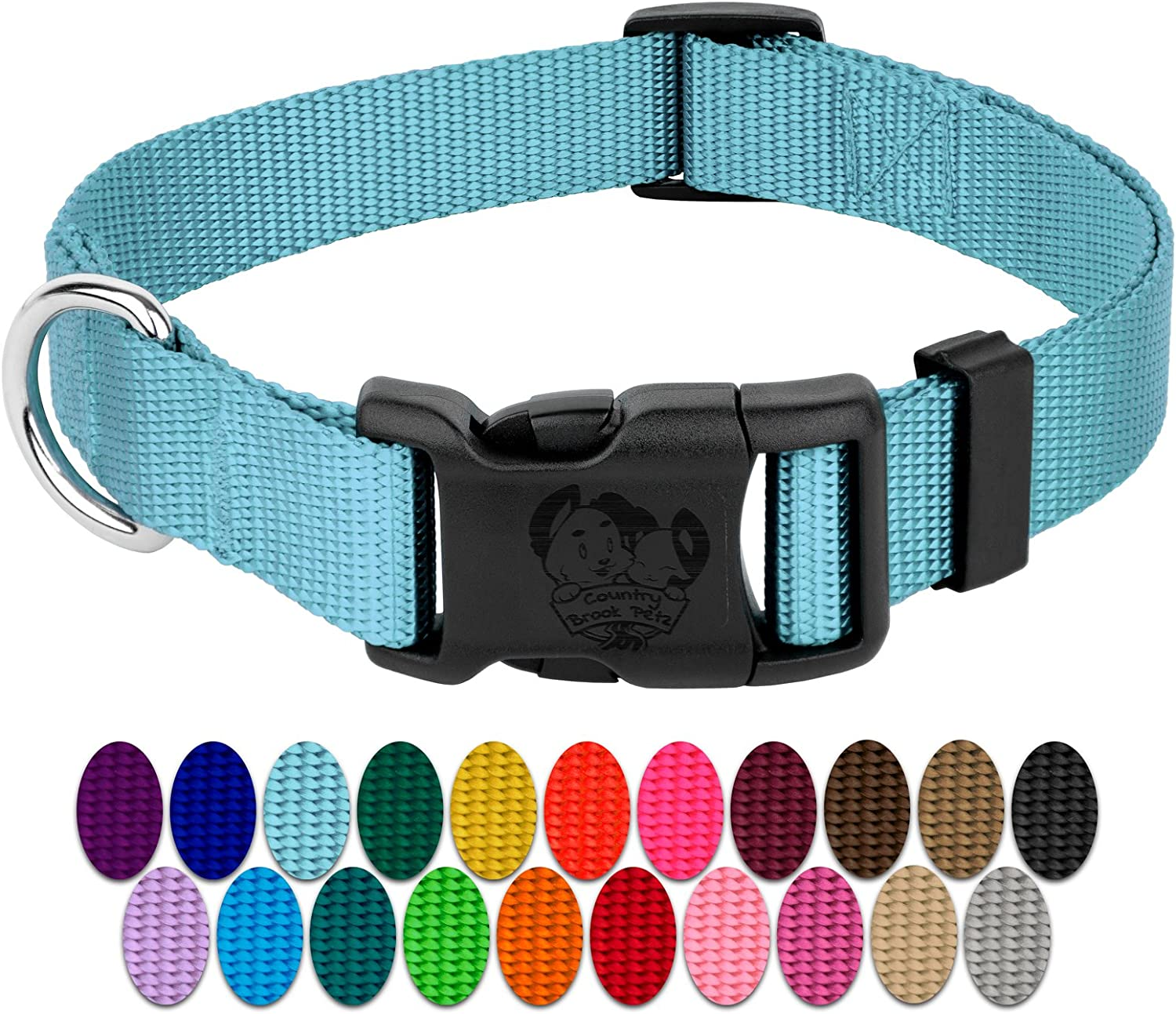 Country Brook Petz   Vibrant 23 color Selection   Deluxe Nylon Dog Collar (Large, 1 Inch Wide)