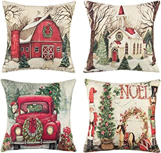 Christmas Decorations Pillow Covers - 4 Pack Merry Xmas Series Couch Throw Pillow Cases for Christmas Home Sofa Decoration, 18 x 18 Inch