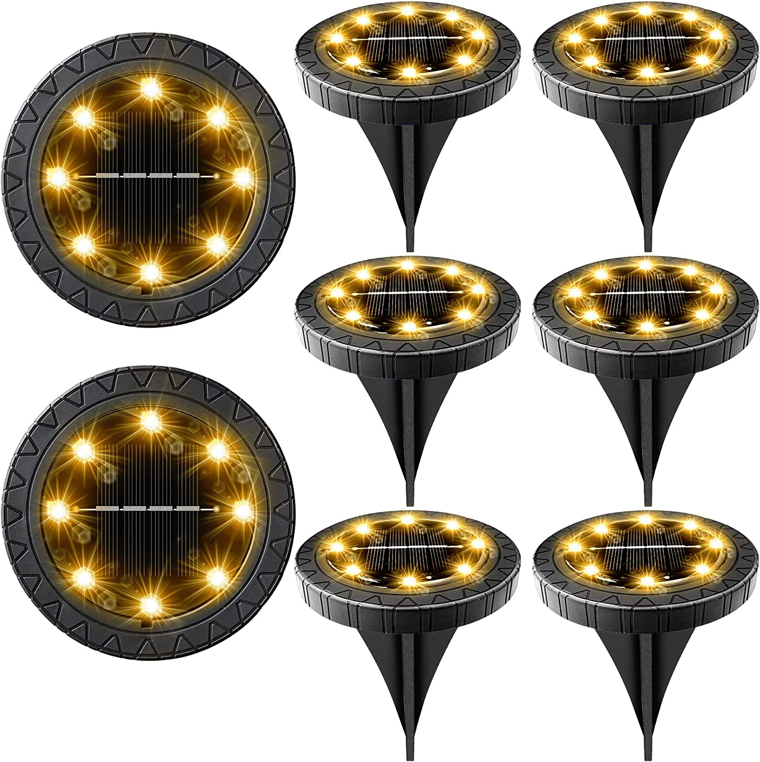 Solar Powered Ground Lights 8 Pack Outdoor LED IP68 D Waterproof Be super Max 90% OFF welcome