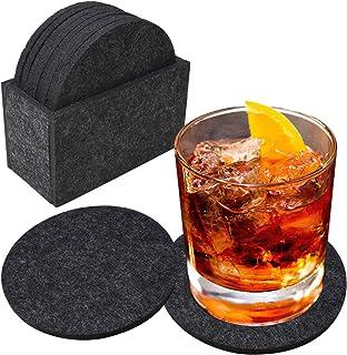 吸水コースター 8ピースセット フェルトコースター Ebuty 茶バッド 飲酒 コーヒー 断熱 吸水 滑り止め(円形-ブラック)