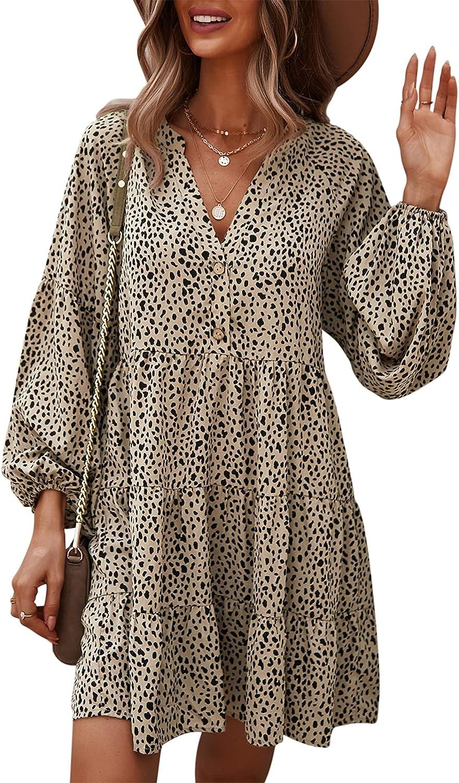 TEMOFON Women's Tunic Dress Leopard Floral Printed Long Sleeve Casual Loose V Neck Ruffle Swing Mini Dresses S-XL