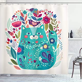 Ambesonne Cat Decor Shower Curtain by, Cute Kitty Surrounded by Birds Flowers Ladybugs Inspirational Folk Baby Illustration, Fabric Bathroom Decor Set with Hooks, 70 Inches, Green