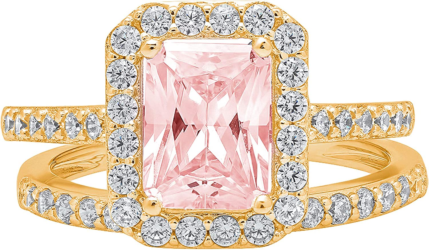 2.14ct Emerald Round Cut Pave Halo Solitaire with Accent VVS1 Ideal Pink Simulated Diamond CZ Engagement Promise Designer Anniversary Wedding Bridal ring band set 14k Yellow Gold