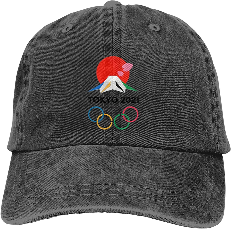 Tokyo Olympics 2021 Baseball Cap Washed Denim Adjustable Dad Hat
