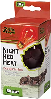 Zilla Reptile Terrarium Heat Lamps Incandescent Bulb, Night Red, 50W