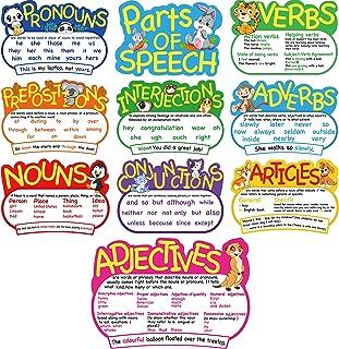 10 Pieces Parts of Speech Poster Grammar Poster Educational Grammar Cutouts Bulletin Board Set for Student Classroom Schoo...
