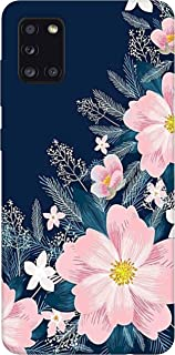 SharpEseller White Pink Flower Multi Coloured Silicone Back Cover for Samsung Galaxy A31