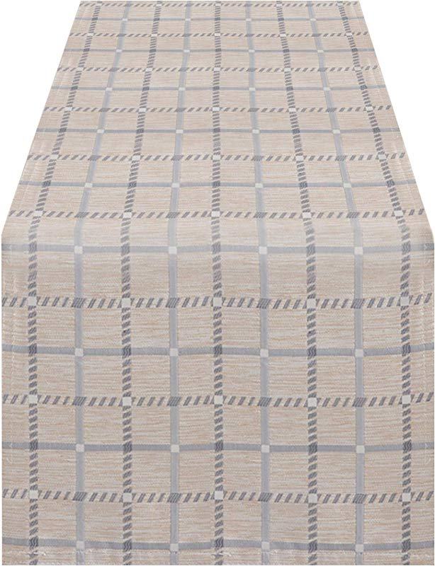 SARO LIFESTYLE 6070 GY1672B Torino Collection Checkered Print Table Runner 16 X 72 Grey