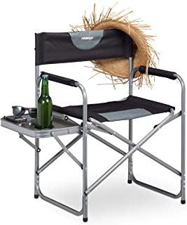 Relaxdays, Negro, Silla Plegable de Director con Posavasos para Camping, Jardín y Pesca, Acero-Plástico, 80 x 58 x 47 cm