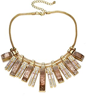 Vintage Chunky Gold Chain Crystal Rhinestone Bib Statement Necklace for Women Fashion Party Prom
