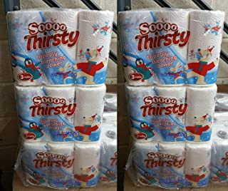 24 x Kitchen Roll 3 Ply White Pure Thirsty Thick Patterned Embossed Cleaning Tissue Paper Christmas Printed
