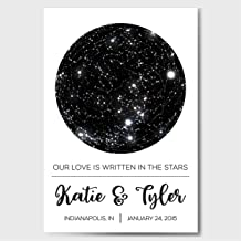 Custom Personalized Star Constellation Map, Star Chart, Custom Engagement Anniversary Birthday Baby Wedding Present, Cool Gift Idea, Night Sky Poster with Frame