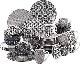 vancasso, série Haruka, Service de Table Porcelaine 48 pièces pour 12 Personnes, en Porcelaine, Assiette Plates, Assiette ...
