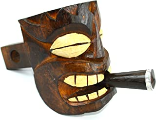 WOOD TIKI HEAD MASK HITCH COVER, one of a kind design WITH CIGAR