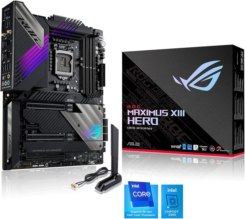 ASUS ROG Maximus XIII Hero - Placa Base (Intel Z590 ATX con VRM de 16 Fases, PCIe 4.0, WiFi 6E, 2 Intel 2.5 GB Ethernet, 4 M.2 con disipadores, 2 Thunderbolt 4, USB 3.2 Gen 2x2 Frontal y Aura Sync)
