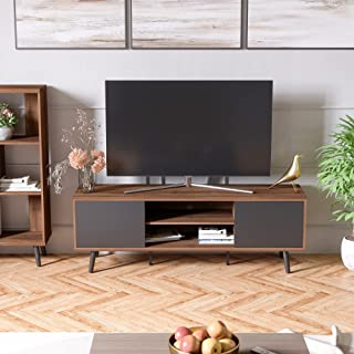 Bestier 60 Inch Large Entertainment TV Stand, Wood Media Storage Console Center for TV, Mid...