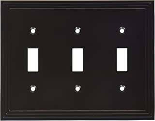 Amerelle Steps Triple Toggle Cast Metal Wallplate in Aged Bronze