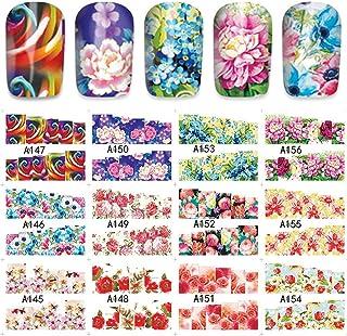 HCFKJ 12Patterns Water Decals Nail Art Transfer Stickers Big Sheet Manicure Decoration