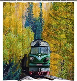 BLEUM CADE Train and Forest Shower Curtain Bathroom Shower Curtain Durable Waterproof with 12 Hooks