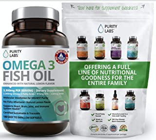 Triple Strength Omega 3 Fish Oil Supplement 3,000MG. Highest Quality and Potency Available - 180 Softgels - Rich in EPA 91...