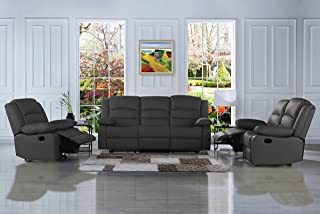 DIVANO ROMA FURNITURE Traditional Classic Reclining Sofa Set - Real Grain Leather Match- Double Recliner, Loveseat, Single Chair (Grey)