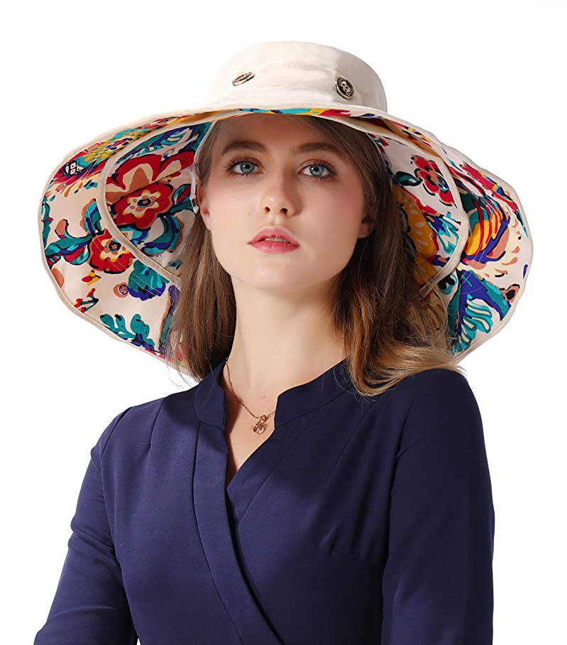 Packable Extra Large Brim Floppy Sun Hat Reversible UPF 50+ Beach Sun Bucket Hat u570710247