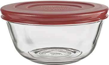 Anchor Hocking Glass Mixing Bowls with Lids, Cherry, 1.5 Quart (Set of 2) - 91856