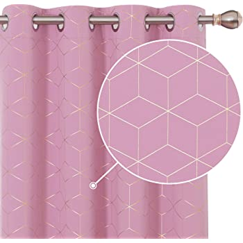 Deconovo Blackout Curtains Foil Diamond Printed Curtains Thermal Insulated Eyelet Curtains for Girls Bedroom W52 x L63 Inch Pink One Pair