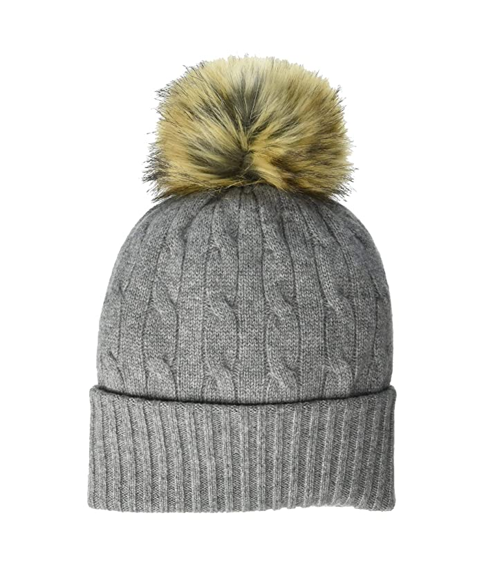 Polo Ralph Lauren  Cashmere Classic Cable Cuff Hat with Pom (Battalion Heather) Knit Hats