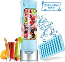 ICER Portable Blender for Shakes and Smoothies - Blend Ice Easy with Powerful 12V Jet Motor - Personal, Single Serve Bottle - Fruit Juicer with 6000 mAh USB Rechargeable Battery - BPA Free 450ml Blue