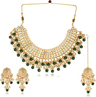 cf13b2f095 Karatcart 22K GoldPlated Traditional Kundan Pearl Bridal Green Choker  Jewellery Set for Women
