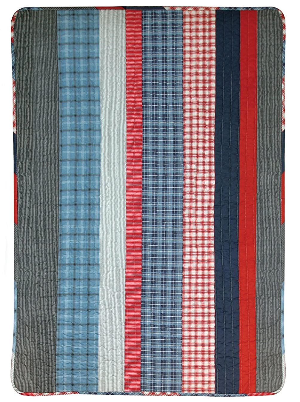 Stephan Baby Stars and Stripes Collection Crib Quilt, Red, White and Blue Plaids