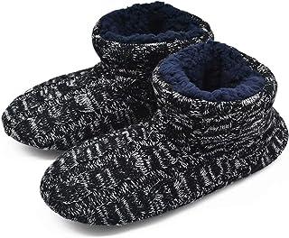 GPOS Knit Rock Wool Warm Men Indoor Pull on Cozy Memory Foam Slipper Boots Soft Rubber Sole Black Size: 8