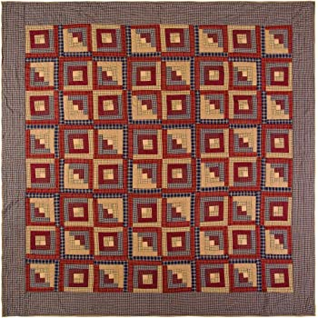 VHC Brands Rustic Millsboro Cotton Pre-Washed Patchwork Square Queen Bedding Accessory, Quilt 94x94, Burgundy