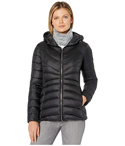 Bernardo Fashions EcoPlume Hooded Packable Puffer Jacket (Black) Women