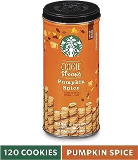 Starbucks Cookie Straws, Pumpkin Spice, 6 tins of 20 (120 total 6-inch straws)