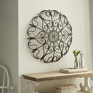 Vintage Style Round Copper Metal Wall Decor w/ Fleur de Lis Accents, Copper and Gold..