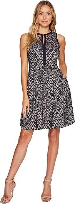 Vince Camuto - Lace Sleeveless Fit & Flare Dress w/ Piping