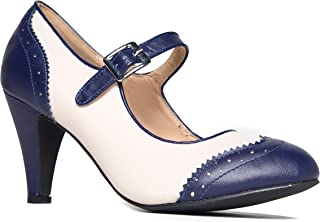 Mary Jane Oxford Pumps - Cute Low Kitten Heels - Retro Round Toe Shoe with Ankle Strap - Kym