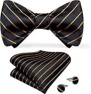 Mens Classic Self Bow Tie Handkerchief Cufflinks Set for Wedding Party