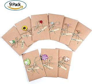 ZWOOS 9PCS Tarjeta de Felicitación Papel Kraft Sobres en Blanco con Flores Secas Postal Decorada para Cada Ocasión