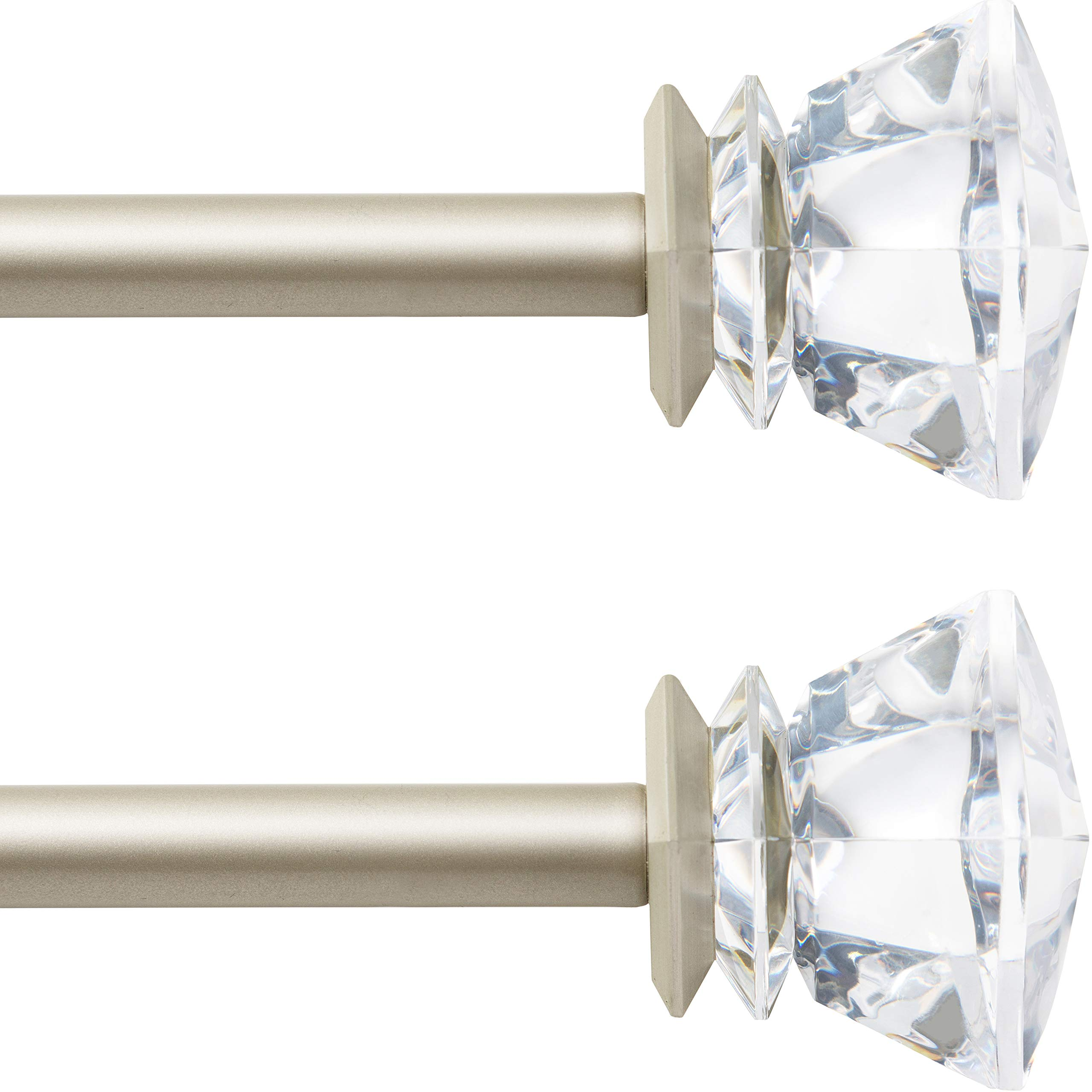 6//8 Inch Curtain Rods Single Window Rod Acrylic Diamond Finials Black 2 Colors