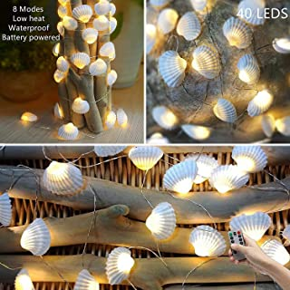 HDNICEZM Beach Seashell Decorative String Lights 14.1Ft 40 Warm White LED Waterproof Battery Operated Ocean String Lights ...