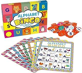 مجموعه بازی های منطبق کارت بازی Deeplay Alphabet Bingo ، نامه های ABC شناخت حیوانات یادگیری لوازم بازی کاغذی یکنوع بازی شبیه لوتو برای کودکان ، کودکان پیش دبستانی ، کلاس های درس ، مهد کودک و بازی های گروهی