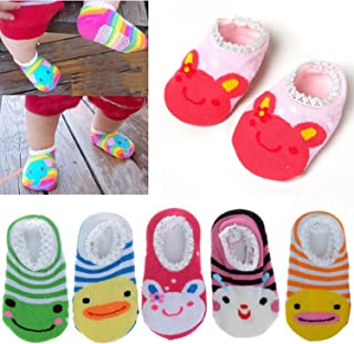 YAYAB Baby Socks 5Pairs Cute Animal Anti Slip Skid Socks Stripes No-Show Crew Boat Sock for 5-15 Month Babies and Infants