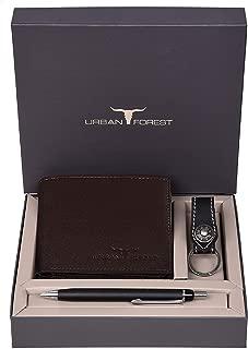 Urban Forest James Leather Wallet Combo for Men - Classic Medium Brown Men's Leather Wallet, Keyring & Pen Combo Gift Set for Men