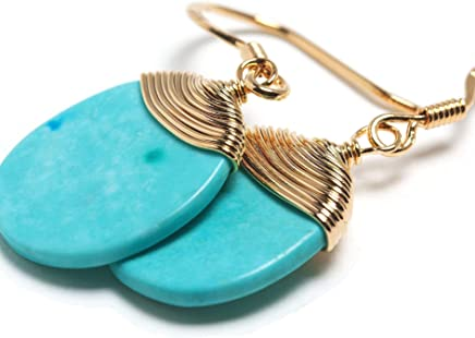 6a18202b7 Natural Stone Wire Wrap Dangle Drop Earrings Gold Plated 925 Sterling Silver  Hook/Turquoise Round